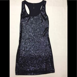 Love Culture Navy Blue Sequin Racer Back Tank Top